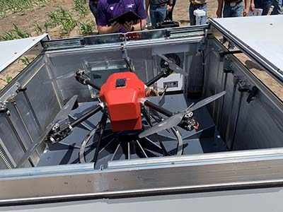 American Robotics automated drone in its storage box