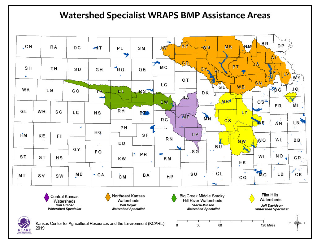 Map showing watershed specialist referral areas across Kansas